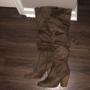 high knee slouchy heeled boots
